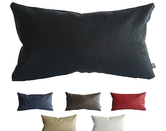 kdays faux leather elephant black pillow cover 12x20 inches decorative for couch throw pillow handmade cushion