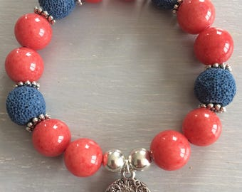 Coral Jade and blue lava and charms bracelet
