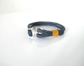 Bracelet - Navy collection sailor Navy Blue Paracord with Manila or Navy anchor clasp