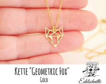 Chain ~ Geometric Fox ~ engraving on request ~ 925 Silver ~ Gold