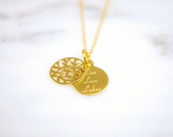 Name chain ~ tree of life ~ 925 Silver ~ Gold