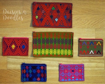 Hand woven pouch and cosmetic bags