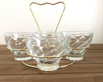 Mid Century Brass 4 Glass Bar Caddy with Vintage Glasses