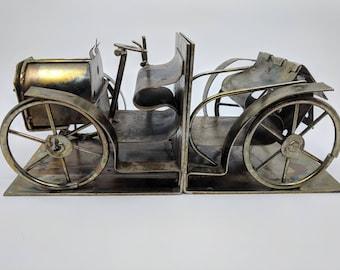 Mid Century Brutalist Sculpture Car Bookends | Metal Bookends | Metal Sculpture  | Metal Car | Brutalist Car Sculpture | Vintage Bookends