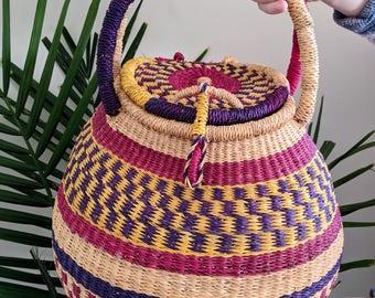 Beautiful Vintage Bohemian Woven Basket | Colourful Wiven Basket | Boho Decor | Vintage Basket