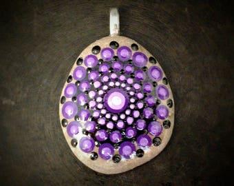 Geometric Purple Pendant, Mandala Pendant, Purple Pendant, Purple Pendant, Hand Painted Pendant, Hand Painted Jewelry