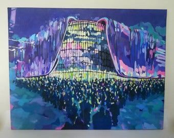 oil painting, abstract art, neon colors, pop art, city at night, Katowice, architecture painting