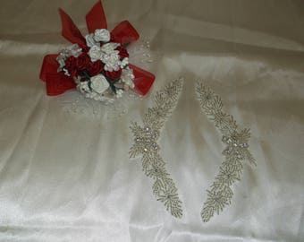 Silver/Rhinestone Sew On Wing Pieces