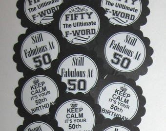 50th Birthday Cupcake Toppers/Party Picks #1018