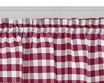 lovemyfabric Poly Cotton Gingham Checkered Plaid Design Kitchen Curtain Valance Window Treatment
