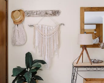 Driftwood and lace wall art