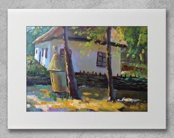 Beehive and Old House - Original oil painting