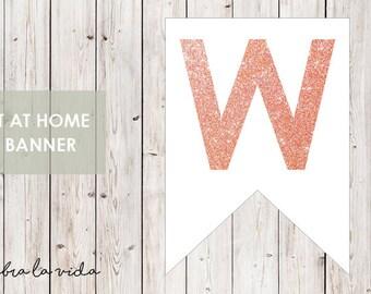 DIY Banner - 'W'. Instant Download. Printable Banner Letters. Pink Glitter. - 01