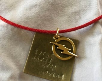 """Hand Stamped Flash """"Forge Ahead Keep Moving"""" Necklace"""