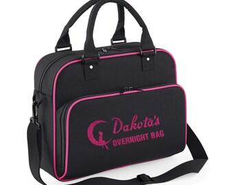 iLeisure Girls Personalised Overnight Bag with Glitter Print
