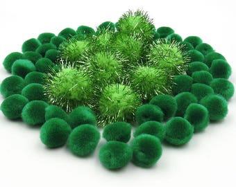 Green Pom Poms. Green PomPoms. Sparkly Pom Poms. Mini Pom Poms. Grab Bag of Pom Poms