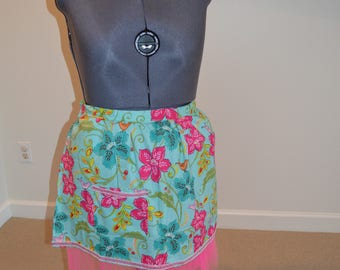 Teal Apron with Tulle