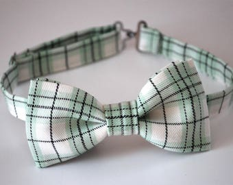 Plaid bow tie, boys bow tie, white black sage green bow tie, wedding bow tie, groomsmen bow tie, ring bearer bow tie, gift for him