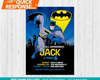 Batman Invitation PRINTABLE, Batman Birthday Invitation, Batman Invites, Batman Party Invitation, FREE Batman Thank You Card, vA