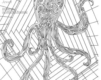 Abstract Octopus Coloring Page