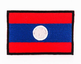 "Iron On Patch Laos Flag Patch for Jackets Military and Boy Scout Style Patch for Sleeve Sew On or Iron On - 2""x3"" I1064"