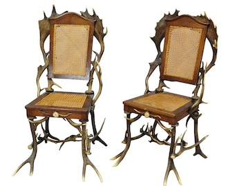 a pair antique rustic cabin chairs ca. 1900