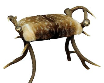 great antique antler stool with fallow deer fur, germany ca. 1870