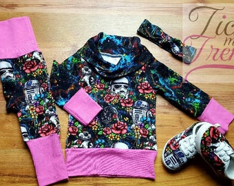 Grow With Me - Galaxy Floral Wars - 3m to 12m - Maxaloones - Cowl - Sweater