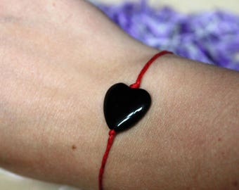 Heart black agate bracelet red string cotton tie