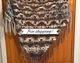 Lost Souls Shawl w/ fringe •finished product•