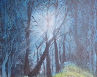 Night table in the forest in the Moonlight, acrylic