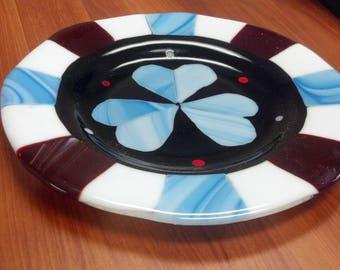 Beautiful Three Heart fused plate