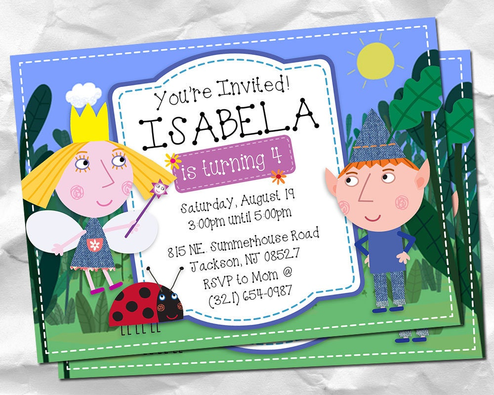 Ben and Holly\'s Little Kingdom Birthday Invitation, Ben and Holly\'s ...