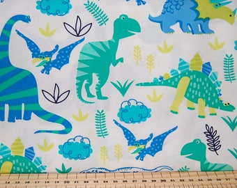 Dinosaur World T-Rex Stegasaurus Triceratops Diplodocus Cotton Fabric White Fat Quarter Kids Nursery