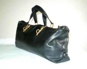 Vintage black leather bag; leather handbag.