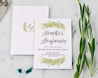 SAMPLE - Printable Romantic Wreath Wedding invitation pack, Forest Wedding invitation, Garden Wedding, Rustic Wedding