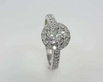 1.5 ct Round Cut D SI1 Diamond Engagement Ring 14K WHITE GOLD With ACCENTS