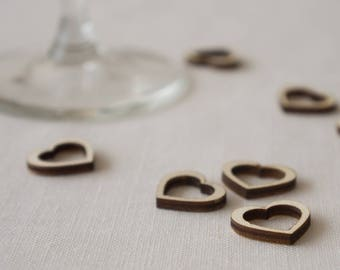 Wedding table confetti. Rustic boho wooden scatter outline hearts L68