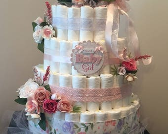 Baby Shower Diaper Cake Centerpiece  (Girl)