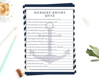 Nautical Baby Shower Games Instant Download Baby Shower Nursery Rhyme Game Anchor Baby Shower Decor Printable Nursery Rhyme Quiz Cards NS1