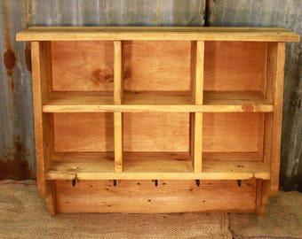 Reclaimed Wood Kitchen Organizer, Chunky Rustic Box Unit