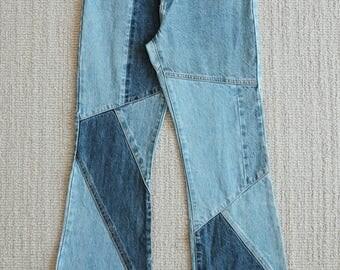 Vintage patchwork flared jeans