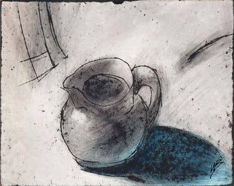Jug, drawing, inks, mixed media, panel, impressionism, still life, stylised