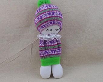 Free Shipping! Socks Doll making kit: Girl in purple