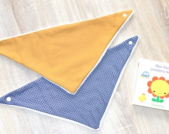 Set of 2 bandana bibs with Navy Blue and mustard - mustard Theme
