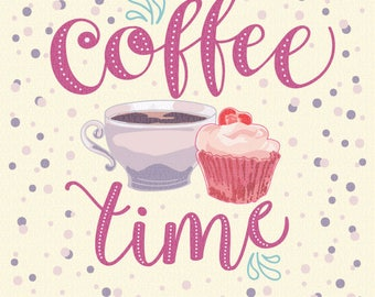 Coffee time hand drawn vector illustration