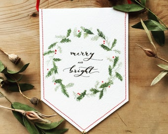 Merry and Bright Christmas Stitched Banner