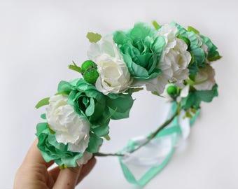 Turquoise flower crown / Wedding headband / Flower wreath