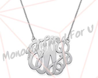 Premium Monogrammed Sterling Silver Necklaces
