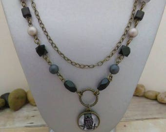 Multi strand vintage brass pendant necklace with black and gray beads, picture of owl pendant, vintage necklace for women, everyday jewelry